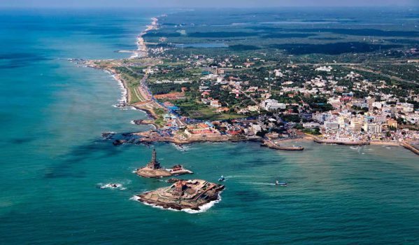 Birds eye view of Kanyakumari Beach