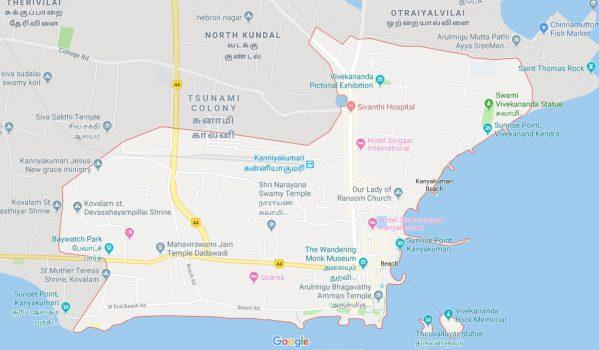 Map of Kanyakumari