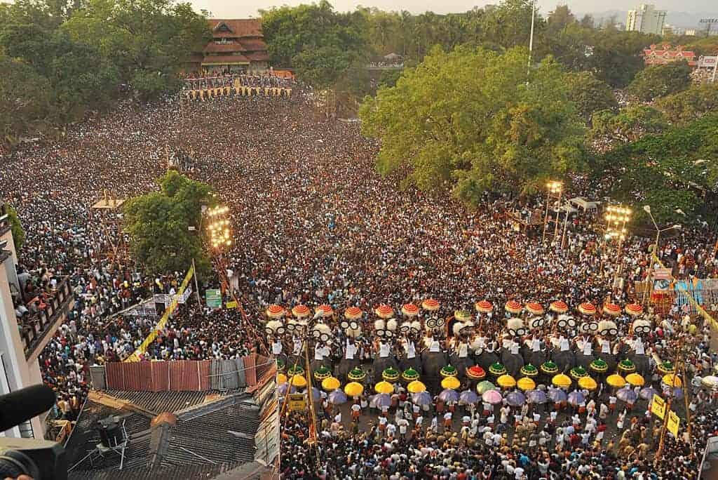 Bird view of Thrissur Pooram festival