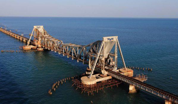 Aerial view of Pamban Bridge